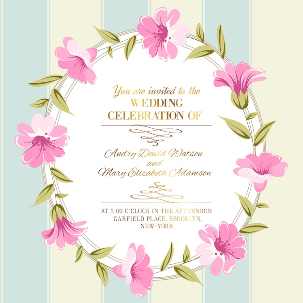Frame decorated with pink flowers Premium Vector
