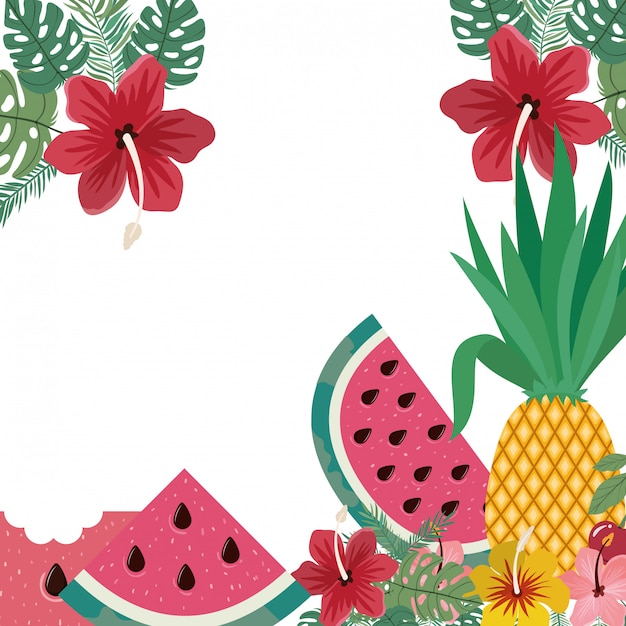 Frame of delicious tropical fruits Free Vector