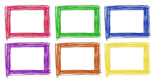 Frame design in six color Free Vector