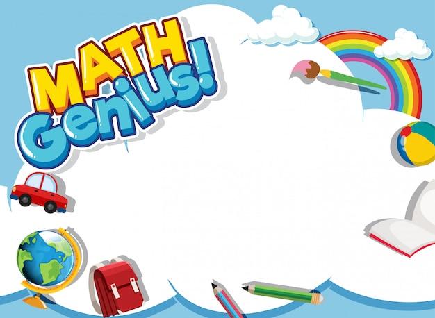 Telaio modello di progettazione con oggetti di scuola e lo sfondo del cielo Vettore gratuito