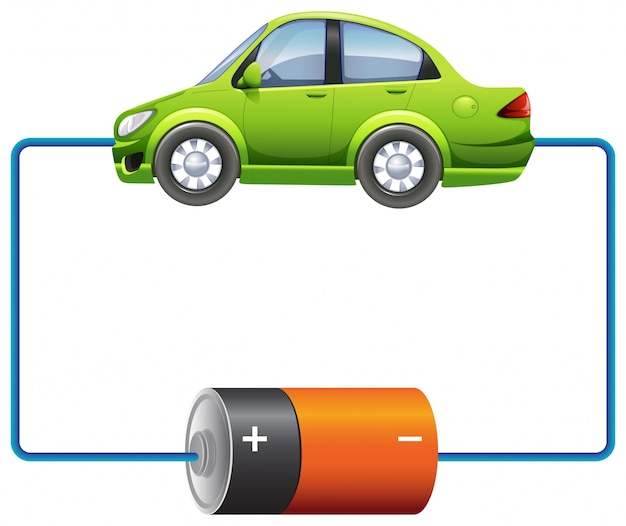Frame design with car and battery Free Vector