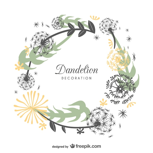 frame design with dandelions free vector
