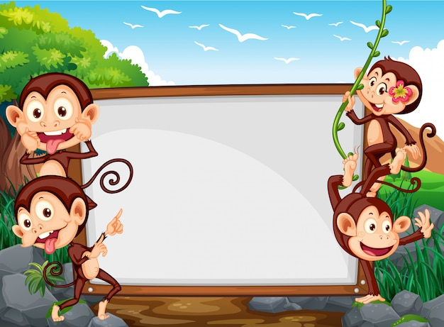 Frame design with four monkeys in the field Free Vector