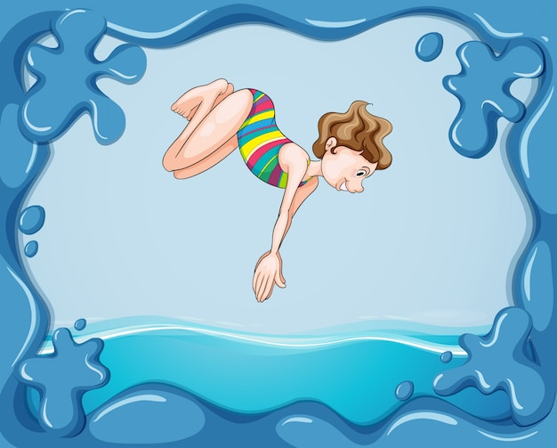 Frame design with girl diving in water Free Vector