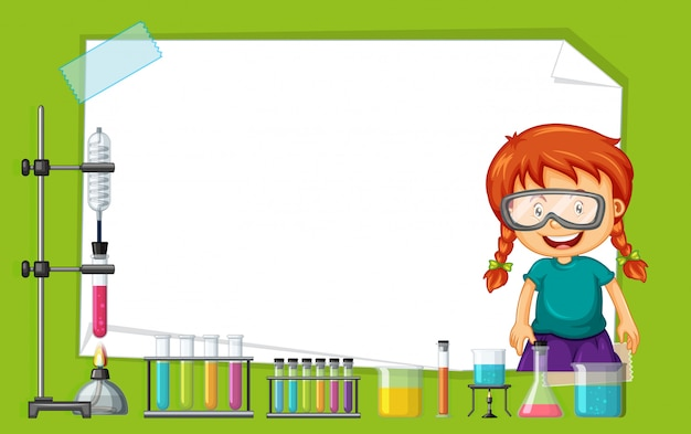 Frame design with girl doing experiment Free Vector