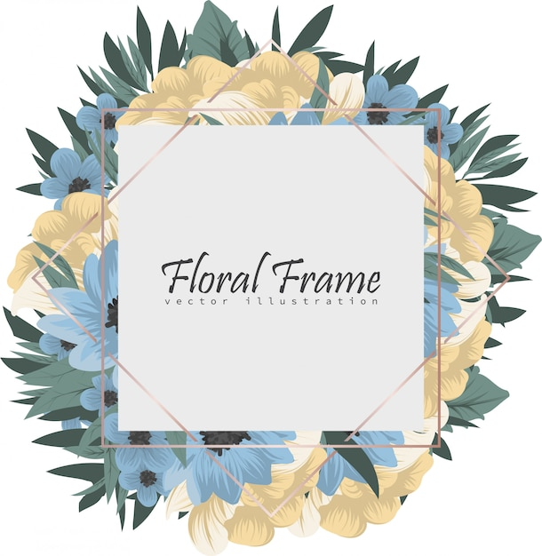 Frame of flowers background Free Vector