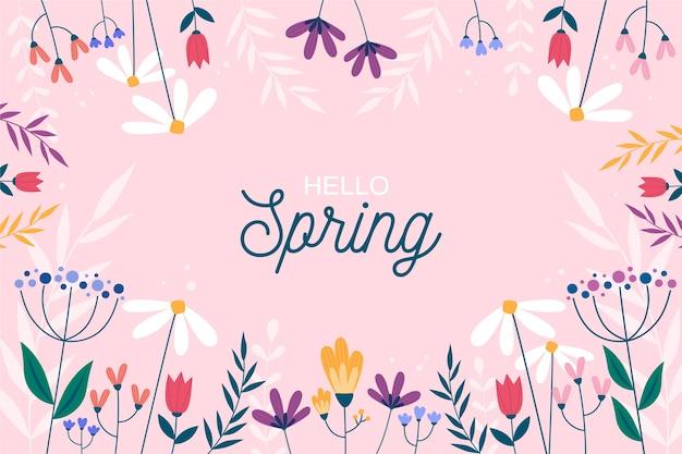 Frame of flowers for spring season Free Vector