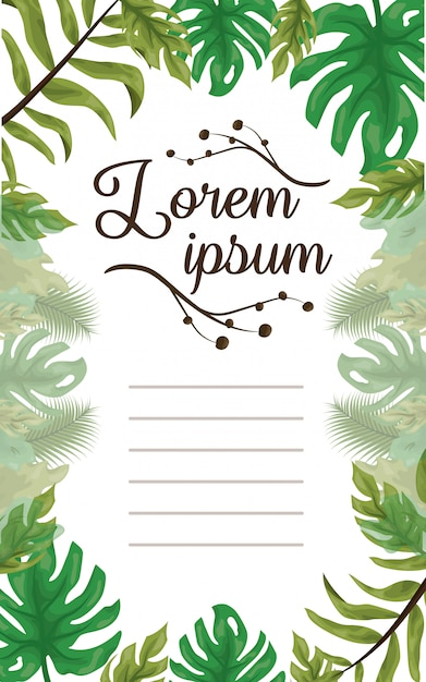 Frame of green leaves, template to customize with space to add text Free Vector