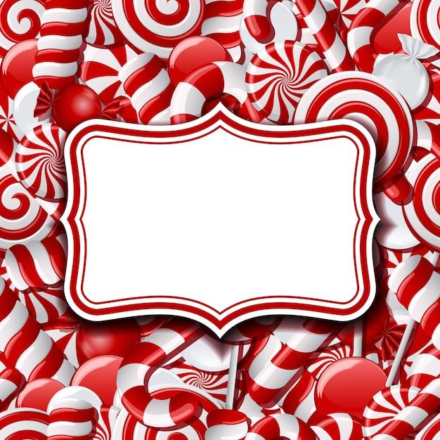 異なる赤と白のキャンディーと甘い背景のフレームラベル。図 Premiumベクター