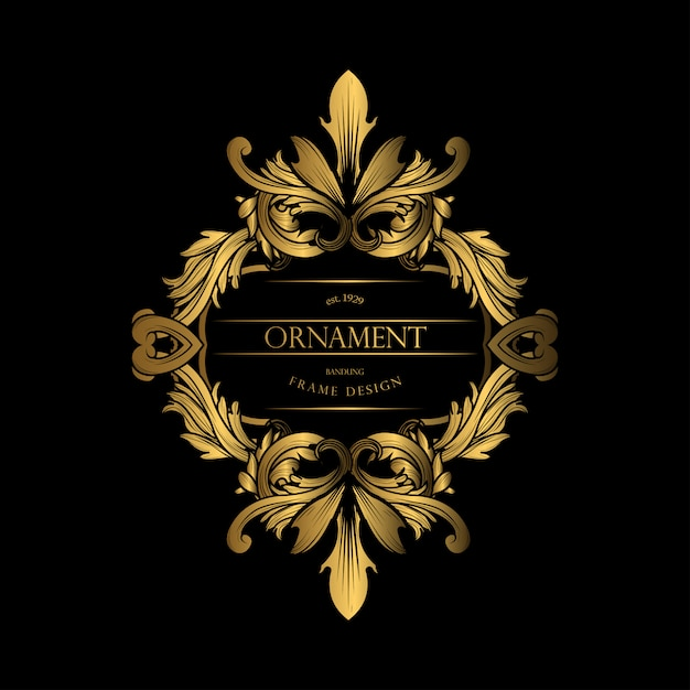 Frame luxury with golden color Premium Vector