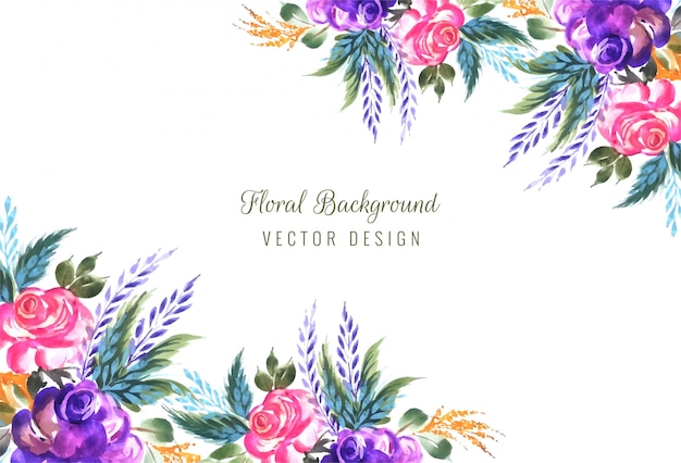 Frame made of decorative floral composition background Free Vector