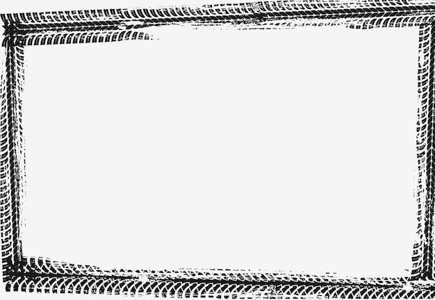 フレームはブラックのタイヤプリントでできています。自動車輸送サービスのバナーやポスターのグランジ空枠テンプレート。ラリー、モトクロス汚れたタイヤパターン、オフロードの汚れたトレイルテクスチャ Premiumベクター