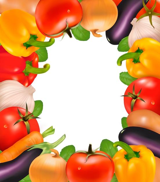 野菜で作られたフレーム。図 Premiumベクター