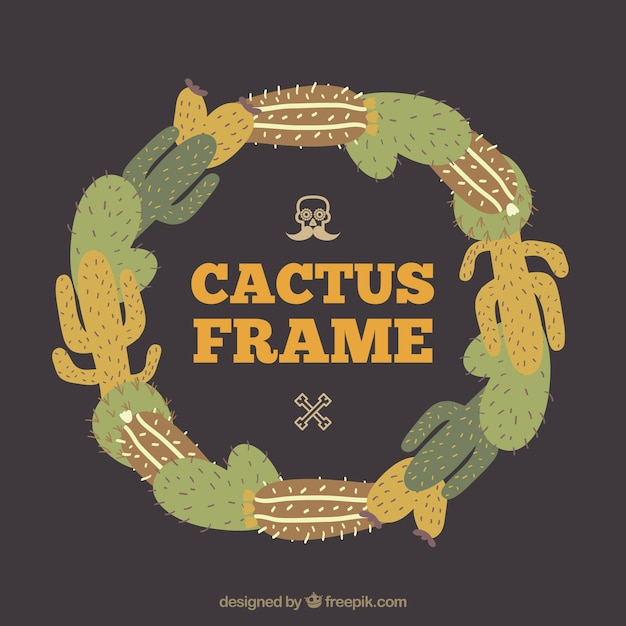 Frame made with cactus Free Vector