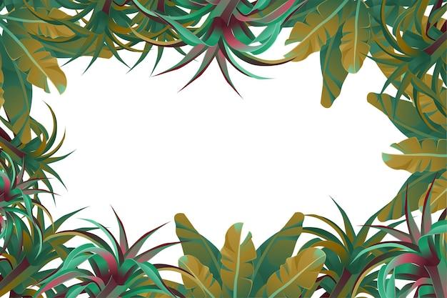 ジャングルの葉のフレーム 無料ベクター
