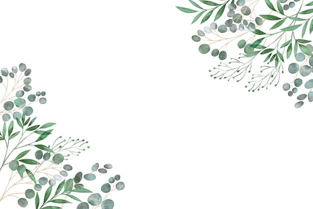 Рамка из листьев копирует пространство Premium векторы