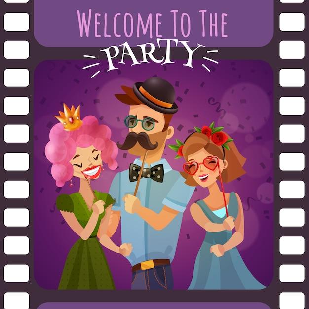 Кадр из фотопленки с приглашением на вечеринку Бесплатные векторы