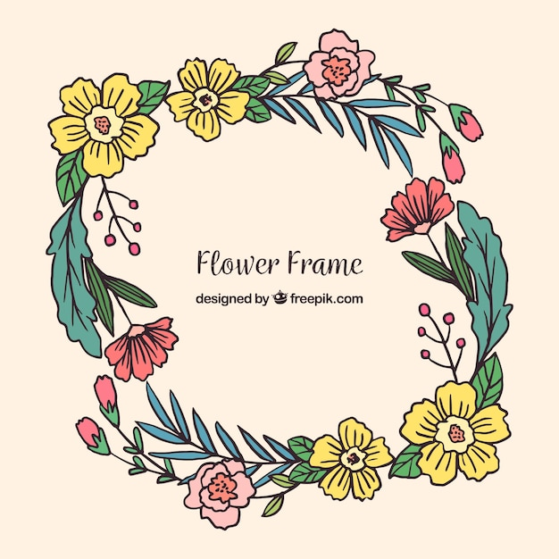 Frame of pretty hand drawn flowers vector free download frame of pretty hand drawn flowers free vector mightylinksfo