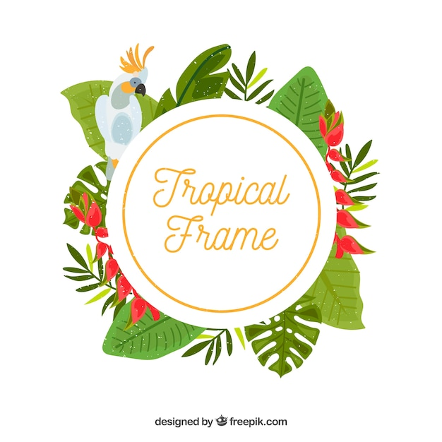Frame of tropical leaves and bird