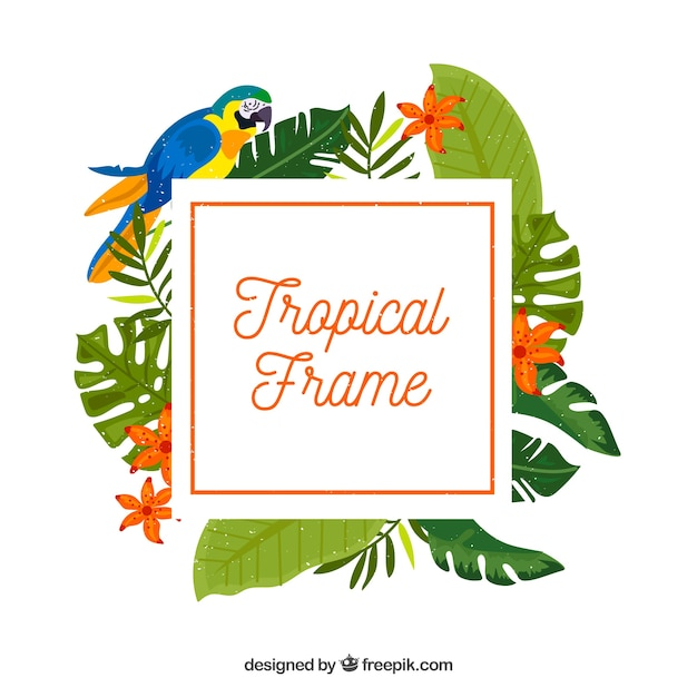 Frame of tropical leaves with bird
