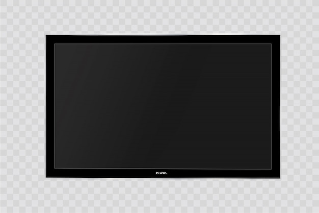 Кадр из телевизора. пустой светодиодный монитор компьютера или черная рамка для фотографий, изолированных на прозрачном фоне. жк-дисплей с пустым экраном, плазменная панель, панель или телевизор для вашего дизайна Premium векторы