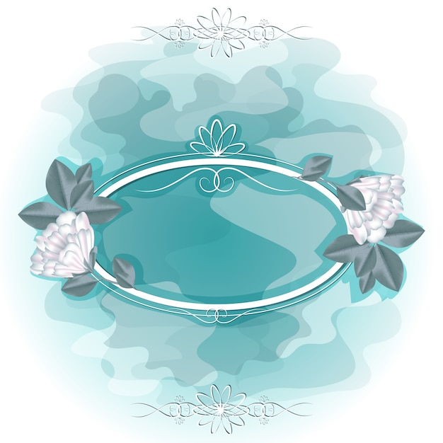 Frame for a photo or text with white flowers. Premium Vector