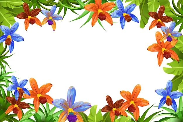 프레임 식물, 잎 및 꽃 난초 프리미엄 벡터