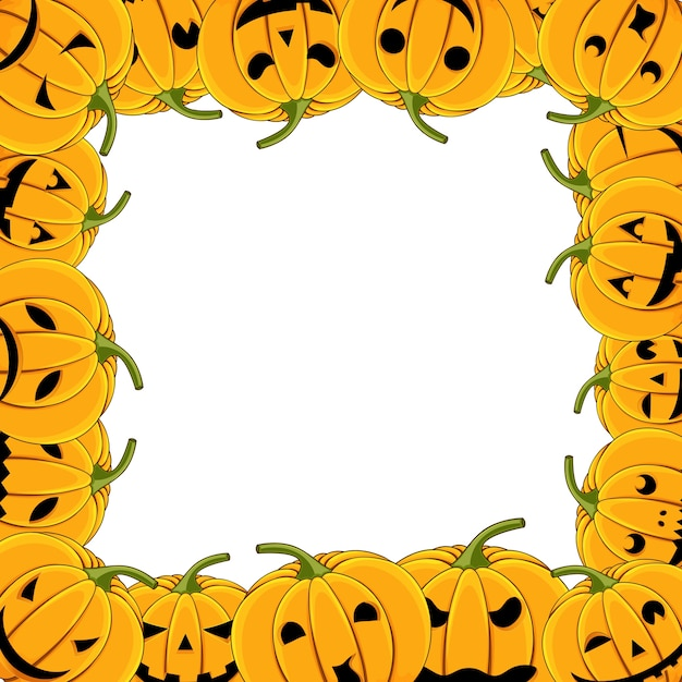 Frame of pumpkin halloween card with pumpkins Premium Vector