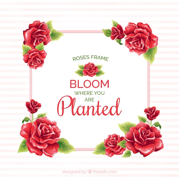 Frame of red roses with watercolor message Free Vector