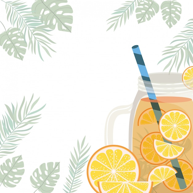 Frame of refreshing drink for summer Free Vector