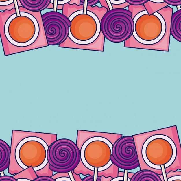 Frame of sweet lollipops frame Free Vector