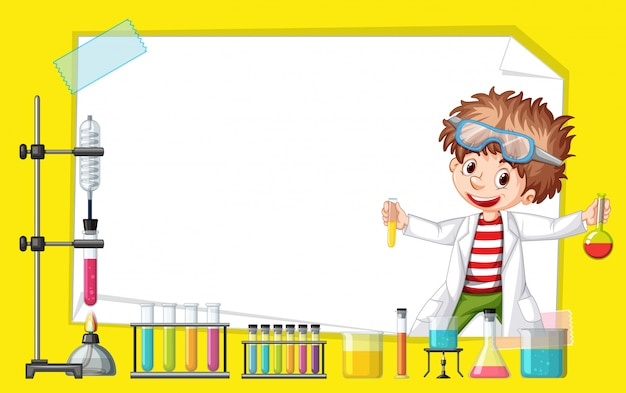 Frame template design with kid in science lab Free Vector