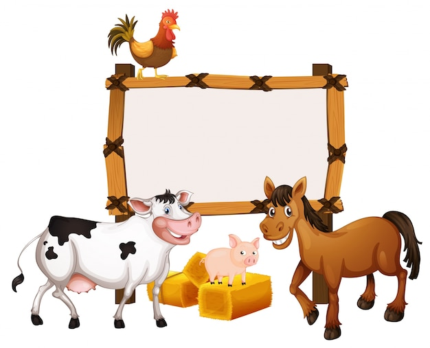 Frame template with animals in the farm Vector   Premium Download