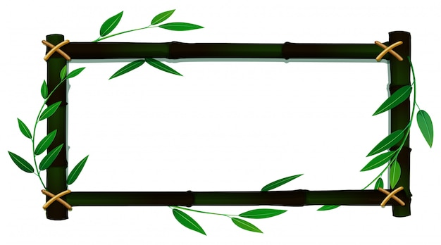 Frame template with bamboo leaves Free Vector