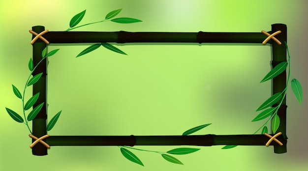Frame template with green bamboo Free Vector