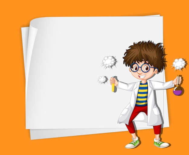 Frame template with kid in science lab Free Vector