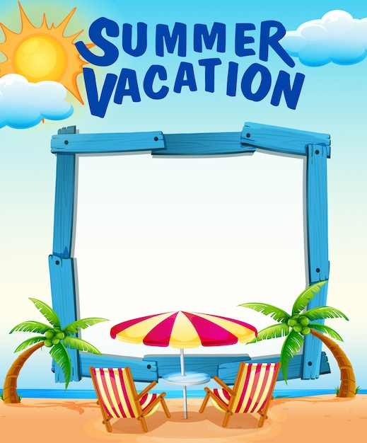 Frame template with summer vacation on the beach Vector | Free Download