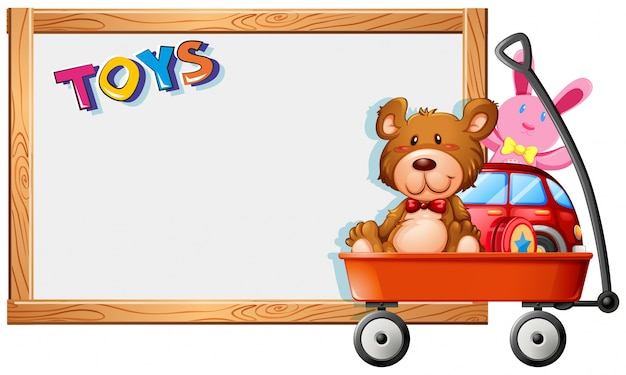 Frame template with toys on red wagon Free Vector