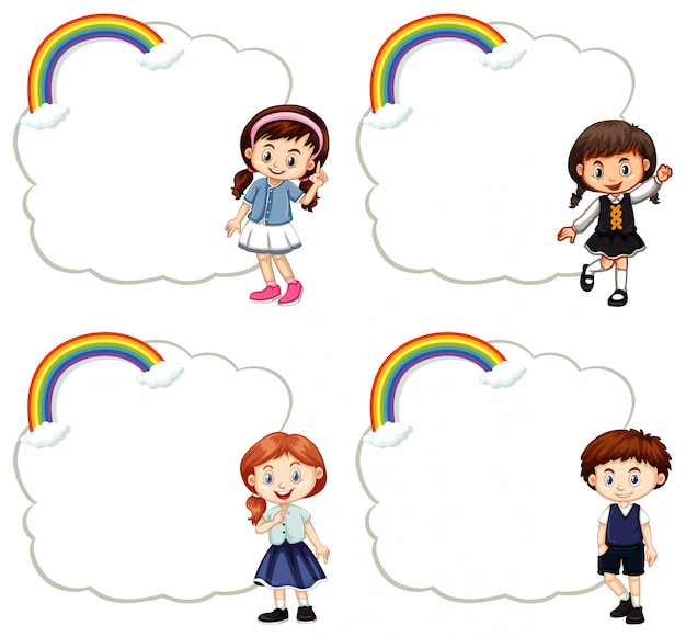 Frame templates with cute children Free Vector