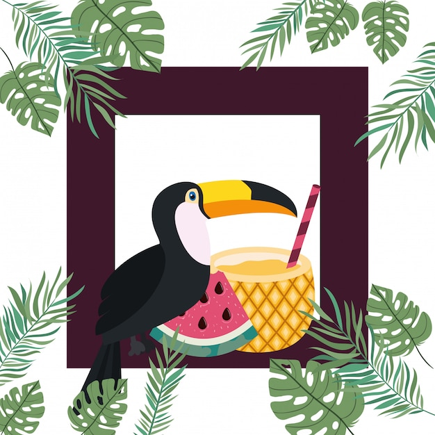 Frame of toucan and summer flower Free Vector