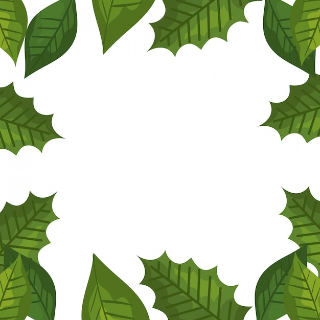 Frame of tropical decorative leaves Free Vector