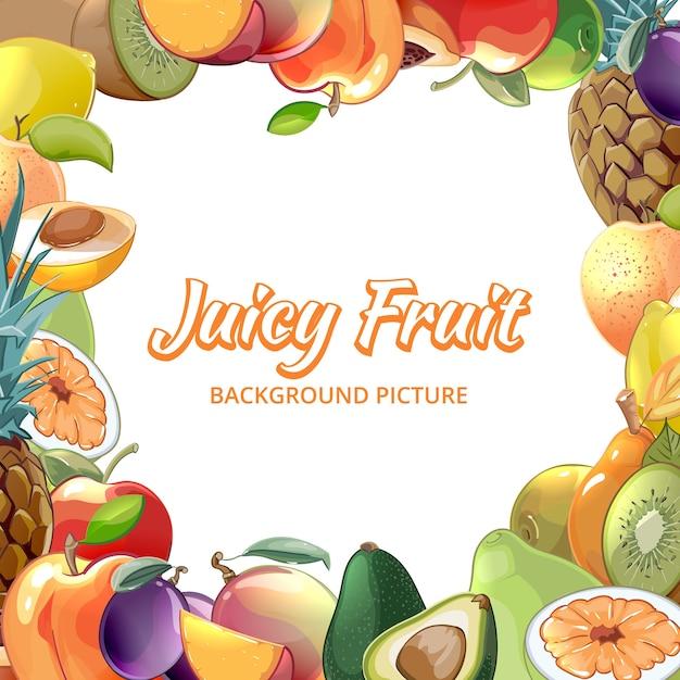 Рамка из тропической еды, абрикоса и киви, ананаса и авокадо, персика и яблока Бесплатные векторы