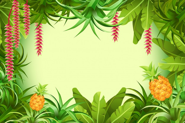 Frame tropical jungle with plants and leaves. Premium Vector