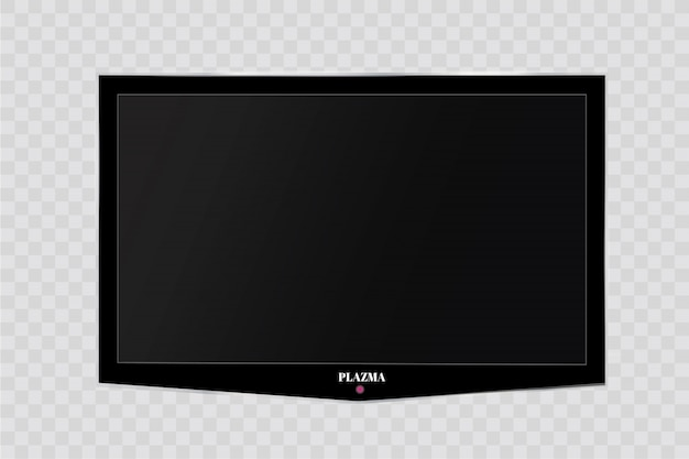 Frame of tv. empty led monitor of computer or black photo frame isolated on a transparent background. blank screen lcd, plasma, panel or tv for your design Premium Vector