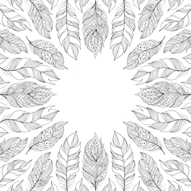 Frame with abstract feathers Premium Vector