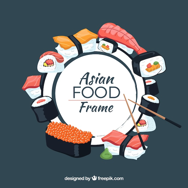 Frame with asian food Free Vector