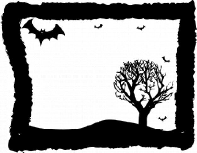 Frame with bats and leafless tree inside Vector   Free Download