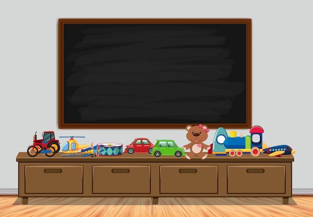 Рамка с доской и игрушками Premium векторы