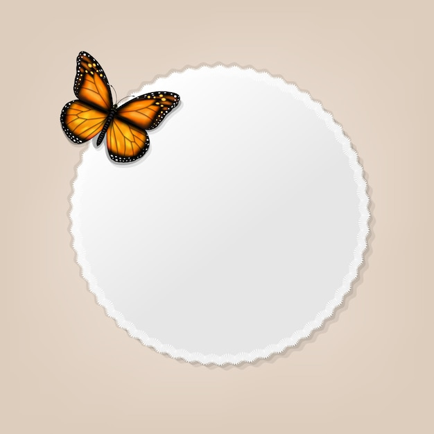 Frame with butterfly background Premium Vector