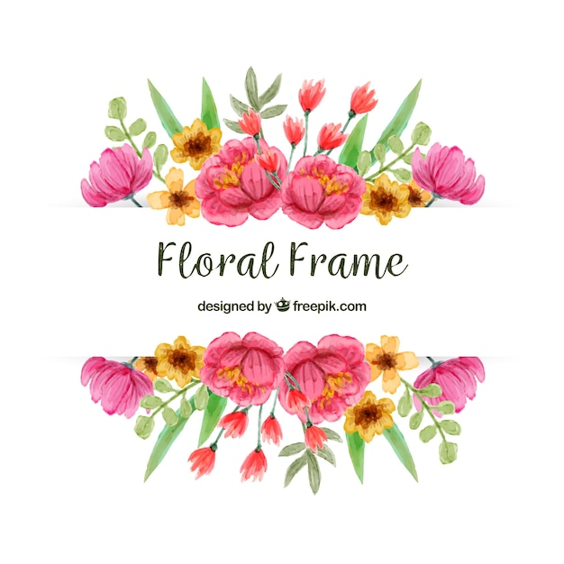 Frame with colorful flowers Free Vector